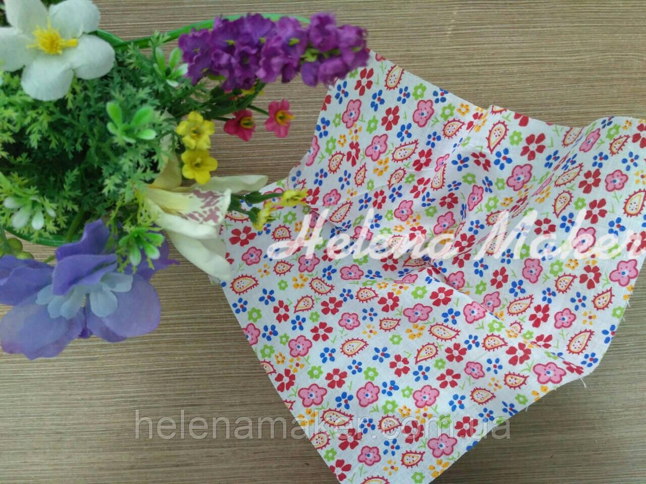 Отрез ткани для рукоделия 20*25 см Яркая цветочная поляна