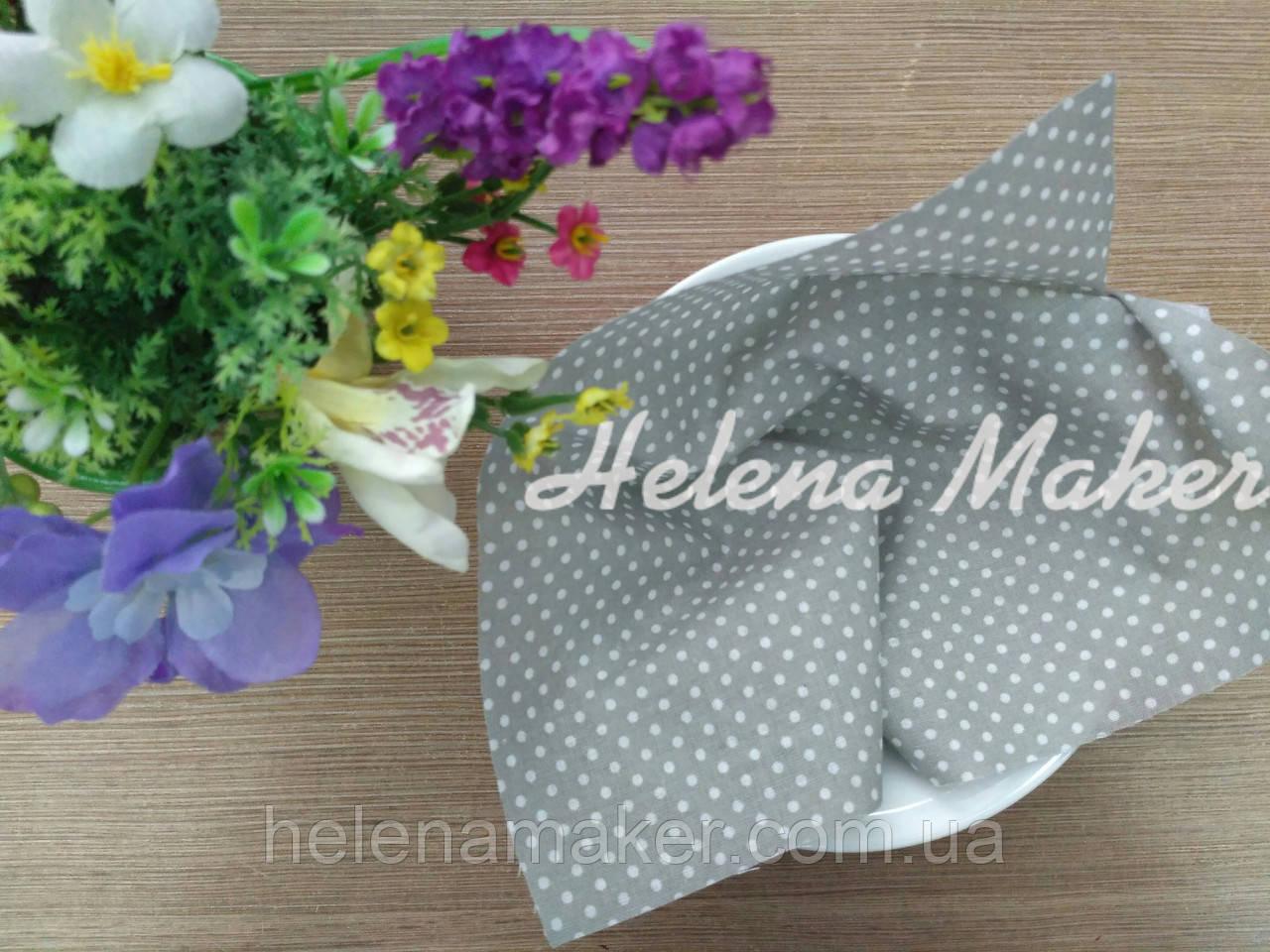 Отрез ткани для рукоделия 20*25 см Серый в мелкий белый горошек