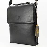 Мужская сумка Bradford 9885-3 черная средняя на три молнии искусственная кожа размер 22х27х9см, фото 1
