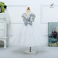 """Вечернее платье для девочек """"Фаина"""". В серебристом цвете."""