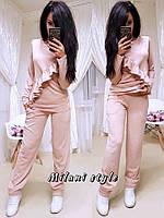 Костюм женский модный из ангоры свитшот с воланом и брюки 4 цвета 1Dmil714