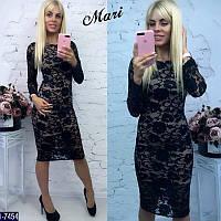 Стильное красивое черное платье набивной стрейч гипюр. Арт-12775