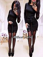 Платье модное мини с поясом трикотаж и гипюр разные цвета 1SMmil1885