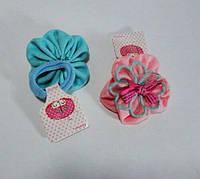 Детская резинка ткань с цветком и бантом 10 шт