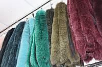 Мех на капюшон пуховика, куртки из хвостиков песца болотного цвета 70 см