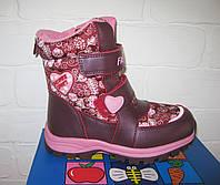 Детские зимние ботинки дутики для девочки на липучках, 27-32