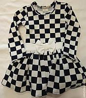 0050 Платье с Бантом рисунок 'Шахматка'