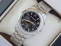 Кварцевые наручные часы копия Michael Kors серебро с черным циферблатом, фото 1