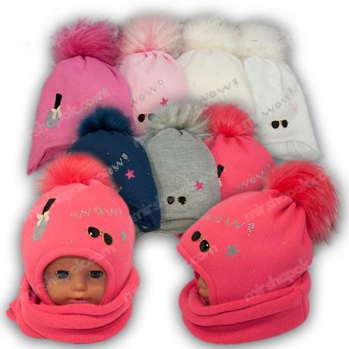 ОПТ Детский комплект - шапка и шарф (труба) для девочки, p. 48-50, Ambra (Польша), утеплитель Iso Soft, N27 (5шт/набор)