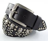 Мужской кожаный кежуал ремень Diesel с заклепками под джинсы или брюки  в черном цвете (11252)