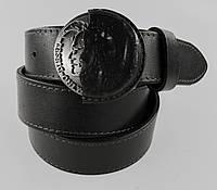 Стильный черный мужской кожаный ремень под джинсы или кежуал брюки с красивой  пряжкой (11254)