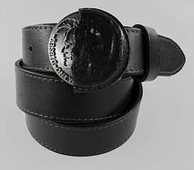 Стильний чорний чоловічий шкіряний ремінь під джинси кежуал з красивою пряжкою в стилі Diesel