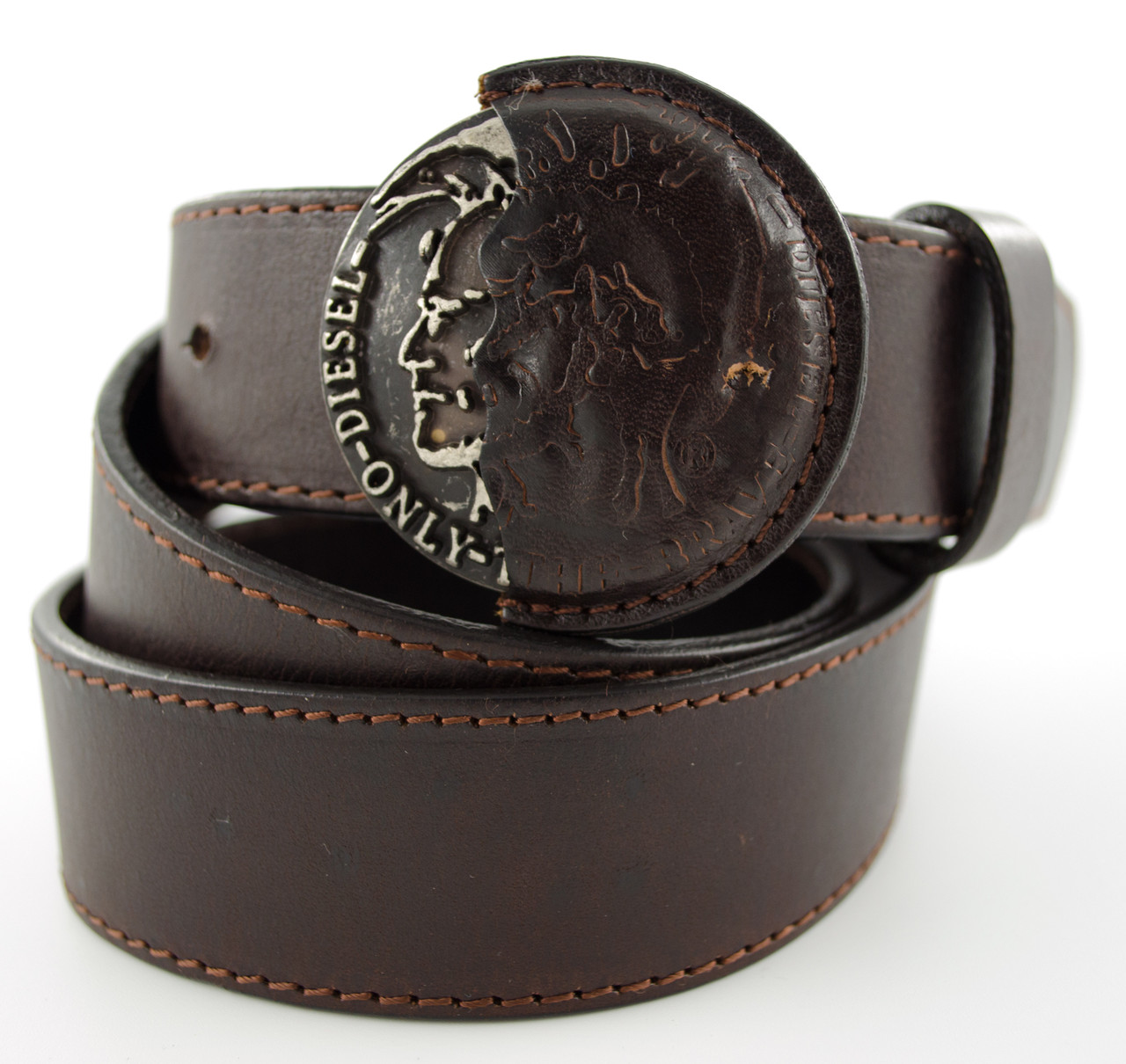 Стильный коричневый мужской кожаный ремень под джинсы кежуал с красивой  пряжкой  в стиле Diesel