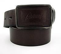 Винтажный мужской кожаный ремень Brioni под джинсы или кежуал брюки со стильной оригинальной пряжкой (11256)