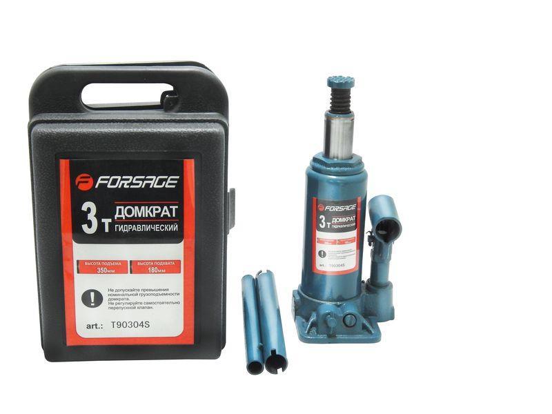Домкрат бутылочный 3 т с клапаном (h min 180мм, h max 350мм,вес 3,8 кг) в кейсе