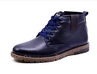 Ботинки зимние мужские на меху Polo синие со змейкой и шнуровкой