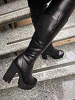 Только 39 размер! Зимние черные сапоги на толстом каблуке