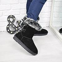 Угги женские Бантики опушка 3840 , зимняя обувь