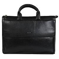 Деловая мужская кожаная сумка с отделением для ноутбука черная High Touch HT007822-11