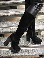 Зимние замшевые сапоги на толстом каблуке
