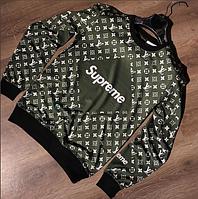 Кофта мужская SUPREME x Louis Vuitton D2360 темно-зеленая