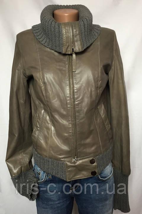 Куртка женская, серая, натуральная кожа, размер S