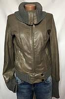 Куртка женская, серая, натуральная кожа, размер S, фото 1