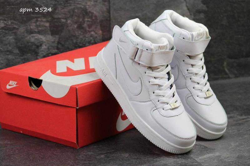 d1efaf049b93a0 Чоловічі зимові кросівки Nike AirForce (3524) білі