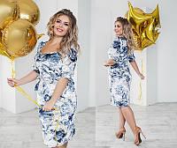 Женское нарядное велюровое платье большого размера с декольте   +цвета