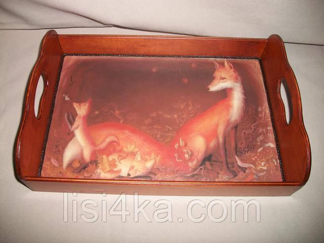 Деревянный малый рыжий поднос с лисичками