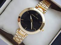 Кварцевые наручные часы Michael Kors небольшого диаметра, золотые с черным циферблатом, фото 1