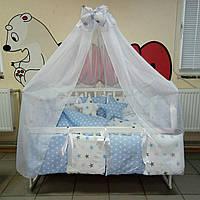 Детское постельное белье Bonna Elite Бело-голубые звёздочки