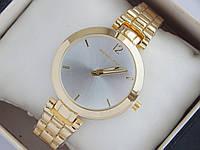 Небольшие кварцевые наручные часы Michael Kors золотые с серебристым циферблатом, фото 1