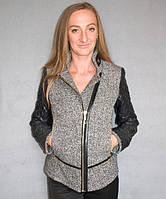 Короткое женское комбинированное пальто №53 (р.40-48)
