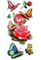 Переводное тату розы с бабочками