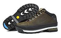 Полу-спортивные коричневые зимние мужские кожаные ботинки NEW BALANCE на меху ( шерсть )