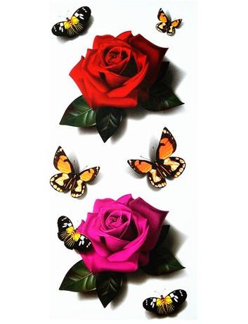 Переводное тату две розы с бабочками