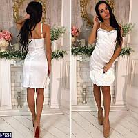 Коктейльное белое платье. Стрейч-коттон+камни. Арт-12795