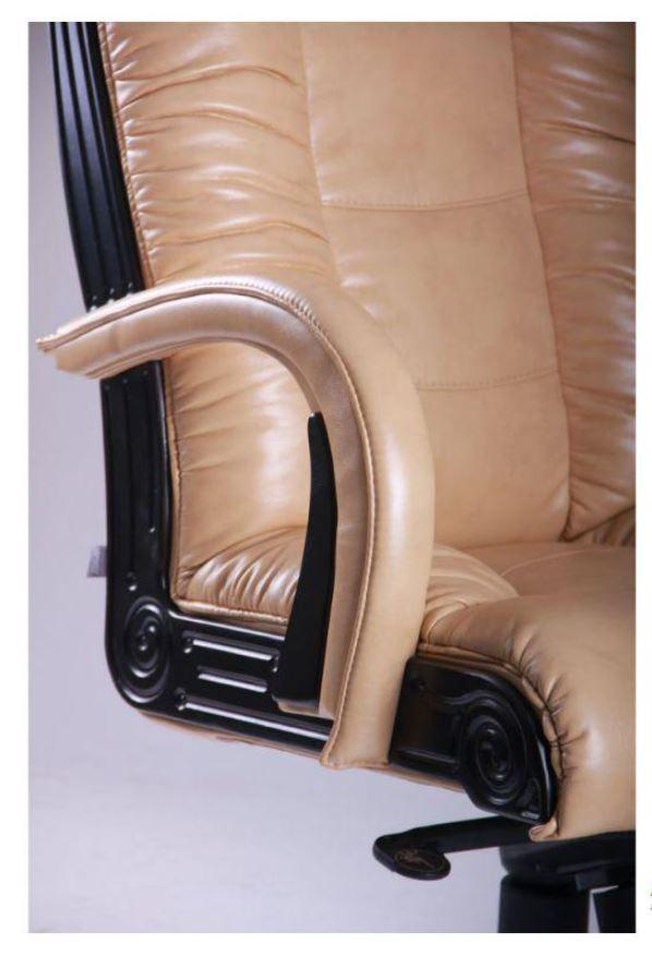 Кресло Кардинал MB Тёмный орех Мадрас Голд Беж (Вид подлокотник)