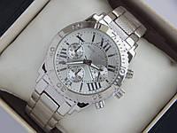 Серебряные наручные часы Michael Kors с безелем, римские цифры, рифленый браслет, фото 1