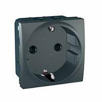 Розетка c заземлением и шторками, графит - Schneider Electric Unica (Код: MGU3.037.12)