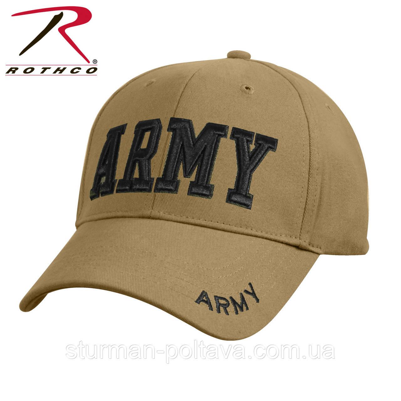 """Бейсболка мужкая з вишивкою """"ARMY"""" колір койот бавовна 100% твіл Coyote Rotcho USA"""