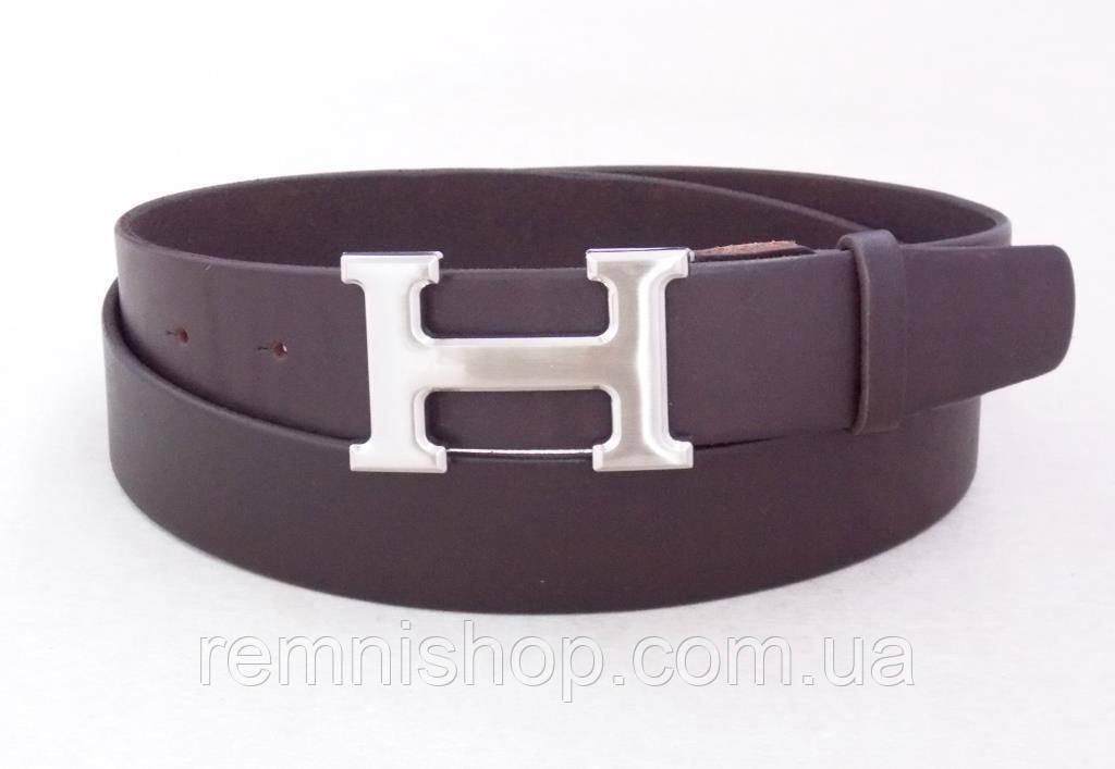 Шкіряний ремінь коричневий Hermes