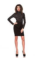 Женская юбка с баской оптом. Модель Ю048_креп черный., фото 1