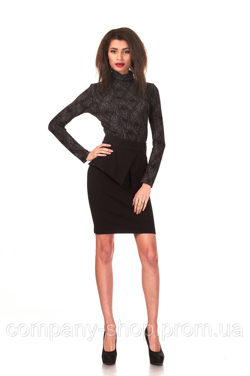 Женская юбка с баской оптом. Модель Ю048_креп черный.