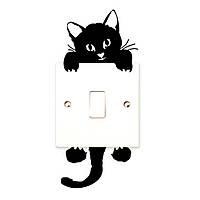 Виниловая наклейка на выключатель Кот на выключателе (327)
