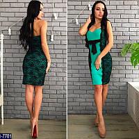 Коктейльное зеленое платье с гепюром. Масло+гипюр. Арт-12802