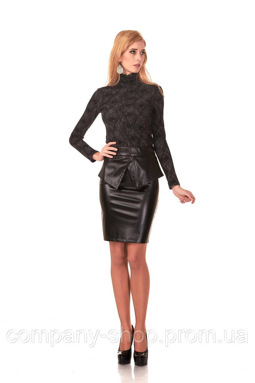 Женская юбка с баской оптом. Модель Ю048_черный кожа., фото 1