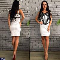 Коктейльное белое платье с гепюром. Стрейч-коттон+гипюр.. Арт-12803