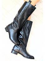 Комфортные кожаные сапоги на низком ходу